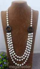Natural 9x11mm White freshwater Cultured  Rice Pearl & black Onyx Necklace