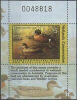Australia Cinderella Ducks 1990 $5 Chestnut Teal MS MNH