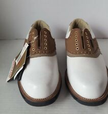 NWT DUNLOP MEN'S KAPALUA GOLF SHOES BROWN AND IVORY 9 1/2