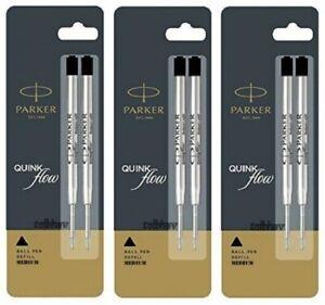6 x Parker Ballpoint Pen Refills Black Ink Medium Nib Jotter Classic Vector New