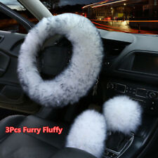 3Pcs White Black Tip Winter Car Steering Wheel Cover Fur Wool Furry Fluffy Thick
