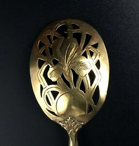 French Antique Sterling Silver & Vermeil Slotted Spoon - 1870's