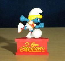 Smurf A Gram I Love Soccer Smurfette Vintage Smurfs Figure PVC Figurine Stand HK