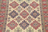 IVORY 6'x9' Geometric Super Kazak Area Rug Hand-Knotted Oriental Wool Carpet