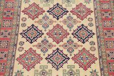 IVORY 6'x9' Geometric Super Kazak Area Rug Hand-Knotted Oriental Wool Carpet