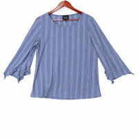 W5 Women's Blue Anthropologie Striped Bell Sleeve Blouse - Size Large