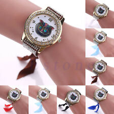 Women Crystal Stainless Steel Stunning Bracelet Owl Cat Dial Quartz Wrist Watch