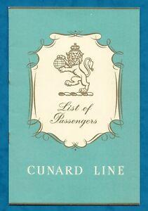 """1960 CUNARD """"R.M.S. IVERNIA"""" TOURIST CLASS PASSENGER LIST BOOKLET P/B"""