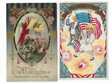 2 Early Patriotic Postcards: G Washington (add-on cloth oval), 4th July embossed