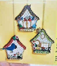 LeeWards COTTAGE, BLUE BIRD HOUSE CHALET Sequin Bead Christmas RARE Ornament Kit