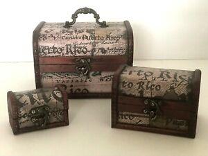 Set of 3 Wooden Small Metal Lock Jewelry Treasure Chest Holder Box Puerto Rico