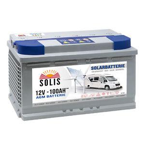 Solis Solarbatterie 100AH AGM GEL Versorgungsbatterie Wohnmobil Boot Batterie