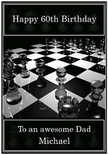 Personalised Chess Theme Birthday Card - Awesome !