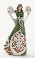 "7"" Luck of the Irish Woodcut Inspirational Angel Figure with Celtic Cross, New,"