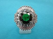 925 Sterling Silver Ring With Green And White Quartz UK P, US 7.75 (rg2250)