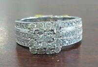 10k White Gold Diamond Wedding Engagment Quad Princess Halo Vinatge Ring Round