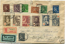 SUOMI FINLAND, REGISTERED AIR MAIL, ANNULS TAMPERE, 13 STAMPS (6 RED CROSS)    m