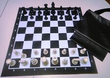 Black Tournament Chess SET 2 extra Queens Vinyl Board Bag NEW