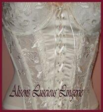 Hestia Silk Ivory Wedding Basque with Suspenders 32E 32F 34DD 34E 34F 36E RRP£47