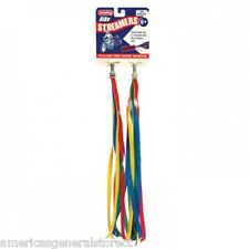 "SET 2 retro BICYCLE STREAMERS bike 12"" handlebar Schylling red blue yellow green"