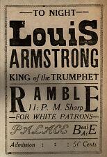 "Louis Armstrong, Concert poster, Trumpet, JAZZ, BLUES, MEMPHIS, 16""x11"" print"