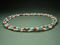 Vintage Czech Bohemian Multi-Colored Round Glass Beads Necklace Long