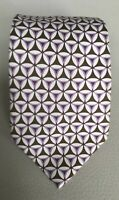 Recent Ermenegildo Zegna Purple Brown Geometric Patterned Silk Tie Made in Italy