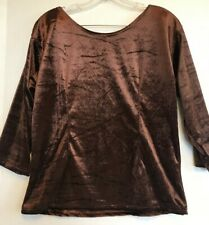 Blouse Top small s brown velvet casual stretch womens