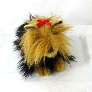 Aurora Miyoni Dog Yorkshire Terrier Yorkie Black Brown Red Hair Bow 10 x 6 in