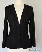 Talbots Cardigan Sweater Size Medium Button Front Sheer Black Viscose Tencel