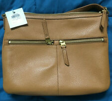 NWT Fossil Elise Large Crossbody Tan Pebbled Leather Bag $158 Retail SHB2056231