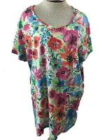 BLAIR knit top size 2X blue pink green floral long tunic style short sleeve