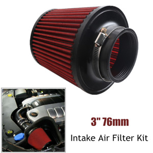 1PC Universal 76mm Car Truck SUV Motorbike Cold Round Cone Intake Air Filter Kit