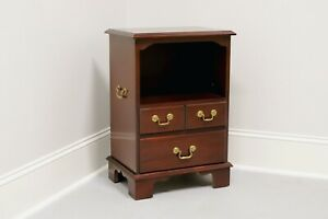 Vintage Inlaid Mahogany Traditional Open Cabinet Nightstand