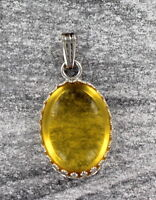 Citrine Cabochon Gemstone Necklace Pendant in Sterling Silver Setting