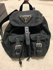 PRADA Mini Backpack Chain Crossbody Bag Black 1BH029