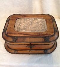 Antique French Bone Olive Wood Dresser Display Trinket Box XLARGE 10""