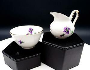 """ROYAL CHELSEA ENGLAND AFRICAN VIOLETS 2 1/4"""" MINI CREAM AND SUGAR"""