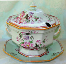 Adams Calyx Ware Metz Soup Tureen 3 Pc Lid Underplate Vintage English Ironstone