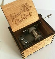 Retro Merry Christmas Music Box Music Engraved Wooden Mechanical Toys Xmas Gifts