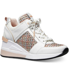 NIB Size 10 Michael Kors Georgie Trainer Sneakers Optic White Gold Rose Gold