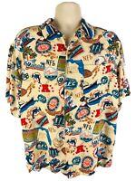 NFL Miami Dolphins Hawaiian Aloha Button Up Rayon Casual Shirt Size L Football
