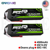 2X OVONIC 4500mAh 4S 14.8V 50C-100C RC Lipo Battery Pack Deans Plug for RC Cars