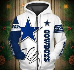 NFL Dallas Cowboys Zipper Hoodie 10 Styles sizes small thru 5X