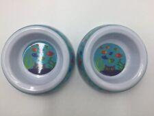 New listing Set Of 2 Kitten Kitty Cat Melamine Food Water Bowls ~ Fun Colorful Fish Print!