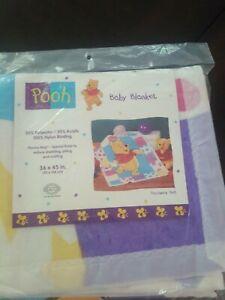 Disney VTG Winnie the Pooh Blanket Vintage Faux Patchwork Acrylic silky edg HTF