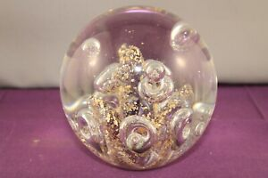 Very Large Controlled Bubble Art Glass Paperweight Amethyst & Gold Leaf Internal