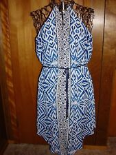 Womens M Mossimo Blues/White Sleeveless Printed Dress Asymmetrical Hemline