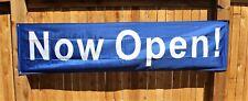 New Now Open Banner Huge Sign 2 feet x 8 Big Blue & White Open! Store Restaurant