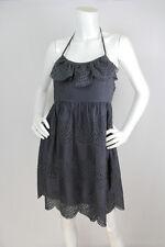 Tibi Sz 6 M Dress Gray Cotton Eyelet Scalloped Trim Halter Strap Summer EUC